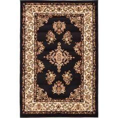 Unique Loom Black Isfahan Rug