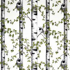 Kaunis Björkdungen-kangas ruotsalaiselta Arvidssons Textililtä on Mialotta Arvidssons-Marsin suunittelema. Kangas valmistetaan laadukkaasta puuvillasta ja siinä on ihastuttava kuosi, joka muistuttaa kesäisistä luontopäivistä. Käytä kangasta verhona tai kauniina yksityiskohtana seinällä.