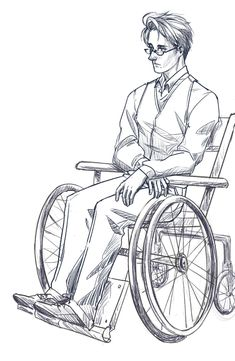 Roderich in a wheelchair; for those who don't know, it is official canon that he was in one at some point - Art by skyootumcrux.tumblr.com