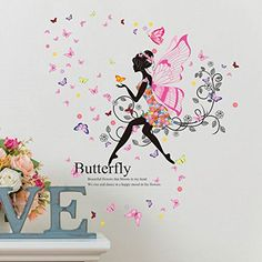 SWORNA Nature Series SN047 Flower Butterfly Girl Removable Vinyl DIY Wall Art Mural Decor Sticker Decal for Lady Kid Bedroom Living Room Playroom Kindergarten Classroom School Nursery Room 48'H X 43'W ^^ Details can be found  : DIY : Do It Yourself Today