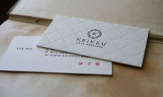 We recently printed these lovely off-sized business cards for Keikeu Cake Boutique. They were printed on Crane Lettra and beautifully utilize a blind impression as a background for the logo side of the card. Layout / Design by Kaori Drome. Letterpress Business Cards, Letterpress Printing, Elegant Business Cards, Business Card Design, Stationery Items, Calling Cards, Color Palettes, Layout Design, Branding Design
