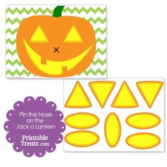 Printable Pin the Nose on the Jack o Lantern from PrintableTreats.com