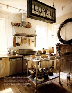 MORE WIDE BOARDS Vintage Industrial.love this kitchen. Reminds me of the Victorian kitchen at The Biltmore in Asheville, NC. Vintage Industrial Lighting, Industrial House, Modern Industrial, Design Industrial, New Kitchen, Kitchen Dining, Quirky Kitchen, Rustic Kitchen, Country Kitchen
