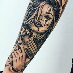 Tattoo Girl Skull Artists 65 new ideas – Tattoos Tattoo Life, Chicanas Tattoo, Skull Girl Tattoo, Girl Face Tattoo, Clown Tattoo, Tattoo Girls, Chicano Art Tattoos, Gangster Tattoos, Dope Tattoos