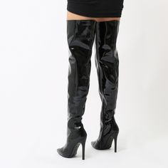 Poison Over The Knee Foil Boots in Black High Shine