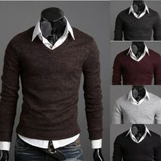 Fast delivery NEW 2014 Men retro sweater V neck polo cardigan sweater backing shirt pullovers men backing shirt 5 color US $12.50