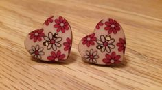 Heart studs ❤  https://www.etsy.com/uk/listing/204540979/pink-flower-earrings-pink-flower-wooden
