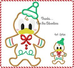 Donald Duck Gingerbread Cookie Applique Digital Embroidery