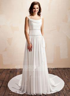 Wedding Dresses - $165.99 - A-Line/Princess Cowl Neck Court Train Chiffon Wedding Dress With Ruffle Beadwork (002011559) http://jjshouse.com/A-Line-Princess-Cowl-Neck-Court-Train-Chiffon-Wedding-Dress-With-Ruffle-Beadwork-002011559-g11559
