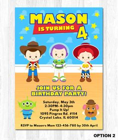 Toy Story Birthday Invitation Toy Story Invitation by KidzParty