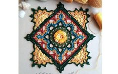 The motif for decorative potholders Crochet Art, Crochet Motif, Crochet Doilies, Crochet Stitches, Crochet Blocks, Crochet Squares, Crochet Granny, Doily Patterns, Mandala Pattern