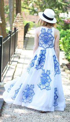 Now THIS is how to make an entrance —with a flowing, printed, maxi dress from Anthropologie.
