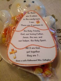 Holy Trinity Lesson Ideas - Free Candy Corn Printable from Teaching Heart (Christian Halloween Crafts) Sunday School Activities, Church Activities, Sunday School Lessons, Sunday School Crafts, Lessons For Kids, Bible Lessons, Object Lessons, Ccd Activities, Religion Activities