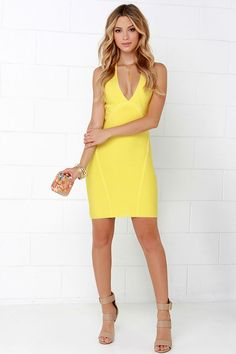 One Woman Band-age Yellow Bodycon Dress at Lulus.com!
