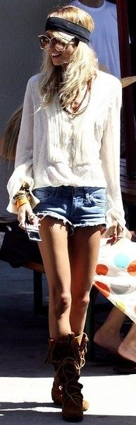 Cool street style modern hippie look with boots & boho top & cut off jean shorts. For the BEST Bohemian fashion trends FOLLOW >>> http://www.pinterest.com/happygolicky/the-best-boho-chic-fashion-bohemian-jewelry-gypsy-/ <<< now.
