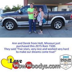 Ann and Derek found the truck of their dreams and they couldn't be happier, congratulations! 🎉 #wow #wowwoodys #woodysautomotive #cars #trucks #suvs #carsforsale #trucksforsale #suvsforsale #kansascity #chillicothe #customerreviews #customertestimonials #wowcarbuying #carshopping #happycustomers #2015ram1500 #2015ram #ram1500 #ram #1500