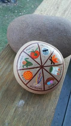 Wheel of the Year with 8 Sabbats - Samhain, Yule, Imbolc, Ostara, Beltaine, Litha, Lammas and Mabon.  The stone is painted in acrylic paints and