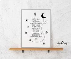 Plakat z modlitwą do Anioła Stróża. Piękny i wyjątkowy dodatek do pokoju dziecięcego.  *Plakat personalizowany* - możesz zakupić dokładnie taki jak na zdjęciu lub wybrać swój ulubiony kolor...