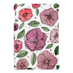 #Watercolor and ink flowers  pink and green iPad mini cases - #flower gifts floral flowers diy