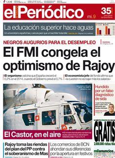Los Titulares y Portadas de Noticias Destacadas Españolas del 9 de Octubre de 2013 del Diario El Periódico ¿Que le pareció esta Portada de este Diario Español?