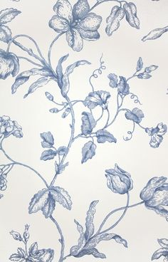 Samantha's Bouquet Toile Wallpaper A toile wallpaper featuring creeping branches with flowers in blue on white.