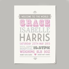 This personalised baby print perfectly captures those special details of birth in a quality print.A perfect gift to celebrate the birth of a new baby, a christening, naming day, a first birthday, Christmas, or the perfect artwork to hang on a nursery wall!This lovely birth announcement print captures the joy and excitement of a new arrival with its vintage typefaces and colours. Personalised as shown to include the name, time, date, year, place, weight and mummy and dadd...