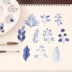 Leaves #watercolorpainting #watercolors #watercolor #watercoloring #flower #floral #florals #flowers #leaves