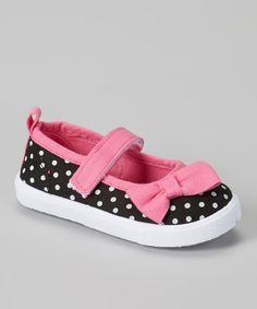 Love this Chatties Black & Pink Polka Dot Mary Jane Sneaker by Chatties on #zulily! #zulilyfinds