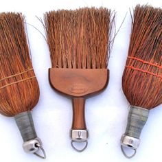 *SOLD* LOT 3 ANTIQUE VINTAGE WHISK WISK Grass BROOM BROOMS Empire SILVER METAL HANDLE $1 sold ... we sell more VINTAGE and ANTIQUE HOME DECORATIONS at http://www.TropicalFeel.com