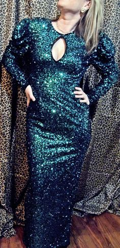 Vintage Gorgeous Maxi  Emerald Green Mermaid Sequin by SpeckledRed, $155.00