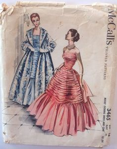 1950s Vintage Sewing Pattern McCalls 3465 Dramatic Strapless Layered Ball Gown