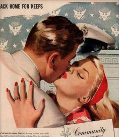 vintage romance kiss military pinup 1944 advertisement community. $14.95, via Etsy.