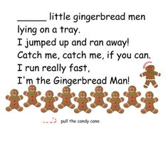 Ten Little Gingerbread Men - got this idea from a pocket folder on Pinterest, so I made it into a Smartnotebook file.  Counting rhyme with activities to practice matching numbers and number words, counting and grouping.