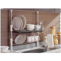 Stainless Fixing Pole 2 Tiers Dish Drying Rack Drainer Dryer Tray Cup Storage | Home & Garden, Kitchen, Dining & Bar, Kitchen Storage & Organization | eBay!