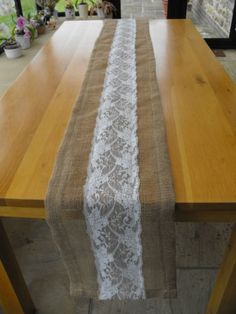Handmade Rustic Hessian Wedding Table Runner With Central Lace Panel