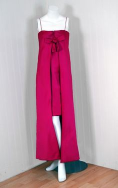 Fuchsia-Pink Satin Mod Column Dress Gown,Pierre Cardin, 1968...Great silhouette. Great twist to a traditional look.