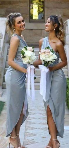 One Shoulder Grey Short Bridesmaid Dresses Online, Cheap Bridesmaids Dresses, WG739#bridesmaids #bridesmaiddress #bridesmaiddresses #dressesformaidofhonor #weddingparty #2020bridesmaiddresses