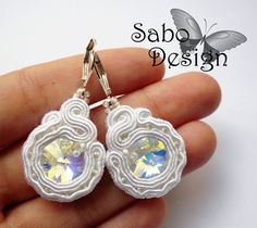 VALERIE  soutache bridal earrings handmade embroidered in by SaboDesign.