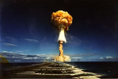 Licorne, a test of a 914 kiloton thermonuclear bomb in the Mururoa Atoll, French Polynesia, July 3, 1970.