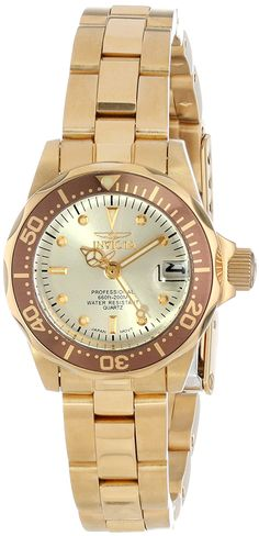 Invicta Women's 12527 Pro-Diver 18k Gold Ion-Plated Stainless Steel and Champagne Dial Bracelet Watch >>> Check out this great product.