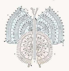 Crochet Diagram, Crochet Motif, Crochet Doilies, Crochet Stitches, Crochet Patterns, Applique Patterns, Stitch Patterns, Crochet Butterfly, Irish Crochet