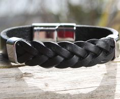 Black Solid and Braided Leather Bracelet with a Sliding Magnetic Clasp