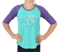 Made with a super light and stretchy heathered spandex, and of course some sparkle, this tee will be your new go-to favorite! Fall Collections, Gymnastics, Tunic Tops, Mint, Tees, Women, Fashion, Fitness, Moda