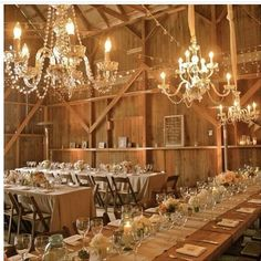 The tables and chandelier minus the barn lol