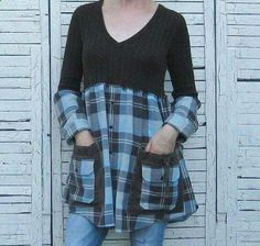 refashion idea for the botched flannel shirt redo! Fabulous idea coz I have probably 40 flannel shirts and am fed up with them. I will upcycle them. Great tips on here on doing just that to any clothes. Diy Clothing, Sewing Clothes, Redo Clothes, Refashioned Clothing, Meme Costume, Altered Couture, Shirt Refashion, Clothes Refashion, Creation Couture
