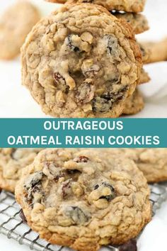 Sink your teeth into these thick, soft & chewy Oatmeal Raisin Cookies. These cookies are loaded with spiced cinnamon, raisins and chewy oats. This is a simple cookie recipe to make and can be made ahead of time. Plus, they stay fresh for days! Soft Oatmeal Raisin Cookies, Oatmeal Cookie Recipes, Chocolate Chip Oatmeal, Best Cookie Recipes, Baking Recipes, Simple Oatmeal Cookies, Oat Cookie Recipe, Biscuits, Stay Fresh