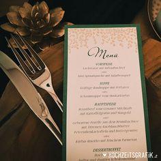 """Gefällt 0 Mal, 0 Kommentare - Hochzeitseinladungen & Co (@hochzeitsgrafik.at) auf Instagram: """">> Menükarten in tollen smaragd-gold Farben  Design und Foto www.hochzeitsgrsfik.at…"""" Rind, Tableware, Instagram, Design, Roast Beef, Colors, Dinnerware, Tablewares"""
