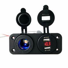 12-24V Dual USB Car Charger Adapter + LED Voltmeter + Cigaretter Lighter Socket