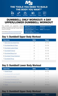 Dumbbell Only Workout: 4 Day Upper/Lower Dumbbell Workout Routine