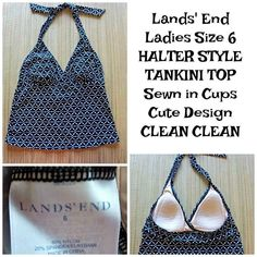 4024d5d18dc06 Lands' End Ladies Size 6 Halter TANKINI top - Black White Geometric Molded  Cups #